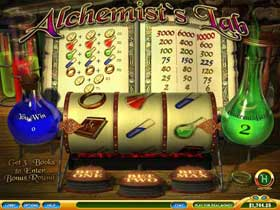 Alchemists Lab is a playtech progressive slot with a built in bonus feature
